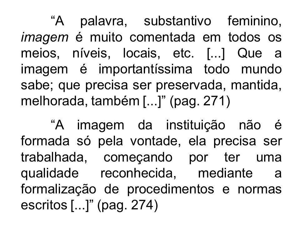 A palavra, substantivo feminino, imagem é muito comentada em todos os meios, níveis, locais, etc. [...] Que a imagem é importantíssima todo mundo sabe; que precisa ser preservada, mantida, melhorada, também [...] (pag. 271)